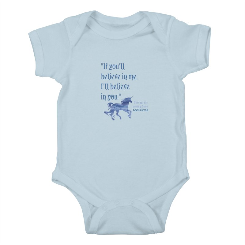 If You'll Believe in Me Alice Through the Looking Glass Unicorn Quote Kids Baby Bodysuit by Awkward Design Co. Artist Shop