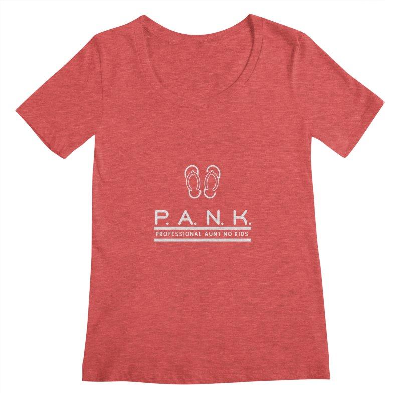 PANK Professional Aunt No Kids Flip Flops Graphic Tee Women's Scoopneck by Awkward Design Co. Artist Shop