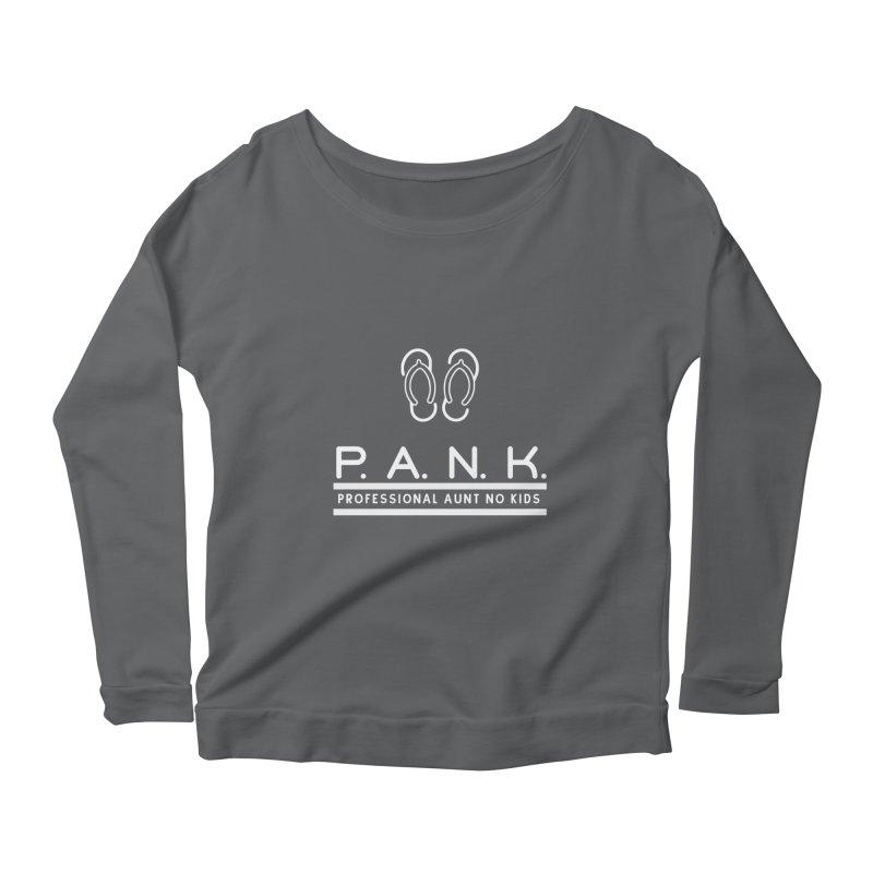 PANK Professional Aunt No Kids Flip Flops Graphic Tee Women's Longsleeve Scoopneck  by Awkward Design Co. Artist Shop