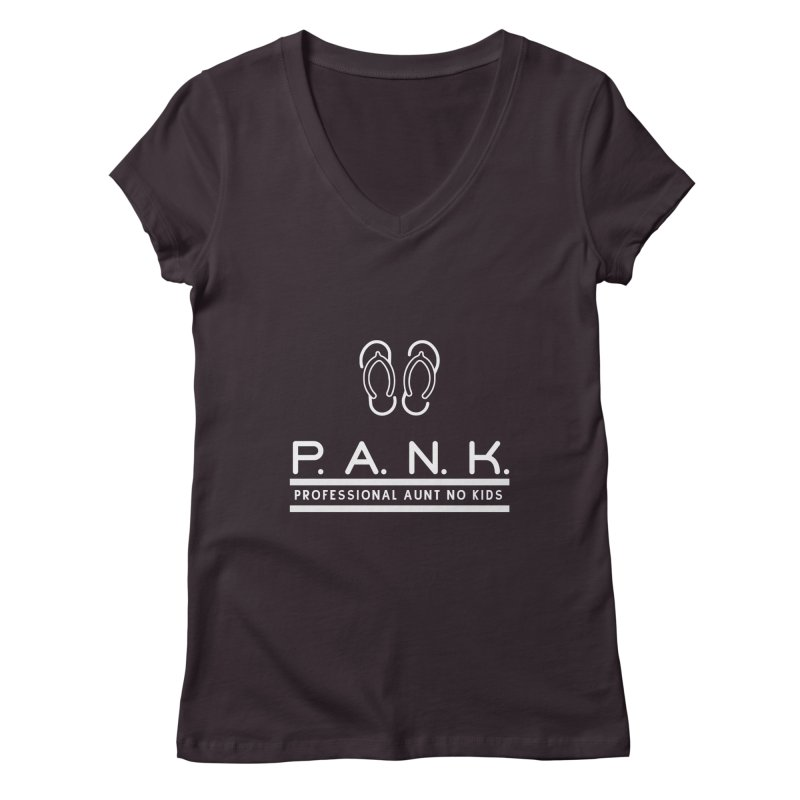 PANK Professional Aunt No Kids Flip Flops Graphic Tee Women's V-Neck by Awkward Design Co. Artist Shop