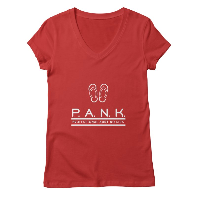 PANK Professional Aunt No Kids Flip Flops Graphic Tee Women's V-Neck by Awkward Design Co. Artist Shop
