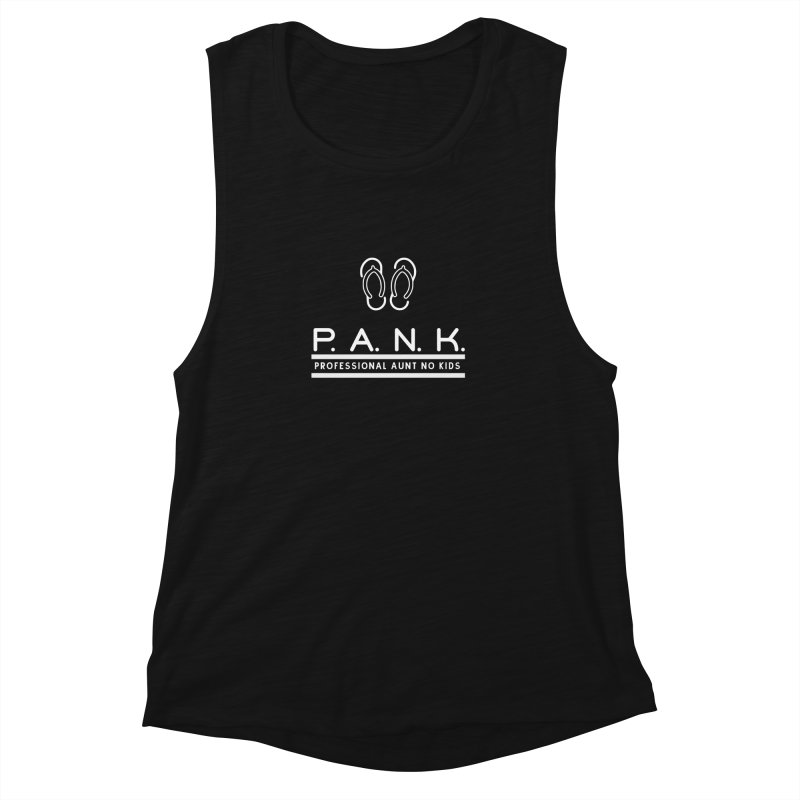 PANK Professional Aunt No Kids Flip Flops Graphic Tee Women's Muscle Tank by Awkward Design Co. Artist Shop