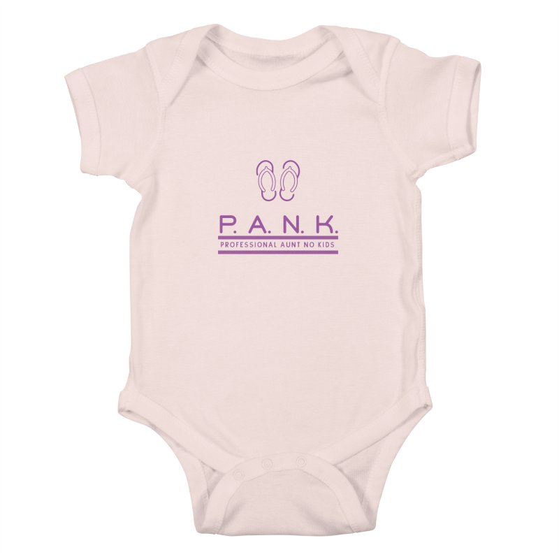 PANK Professional Aunt No Kids Purple Flip Flop Graphic T-Shirt Kids Baby Bodysuit by Awkward Design Co. Artist Shop