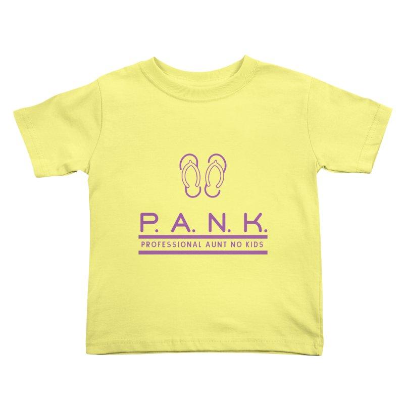 PANK Professional Aunt No Kids Purple Flip Flop Graphic T-Shirt Kids Toddler T-Shirt by Awkward Design Co. Artist Shop