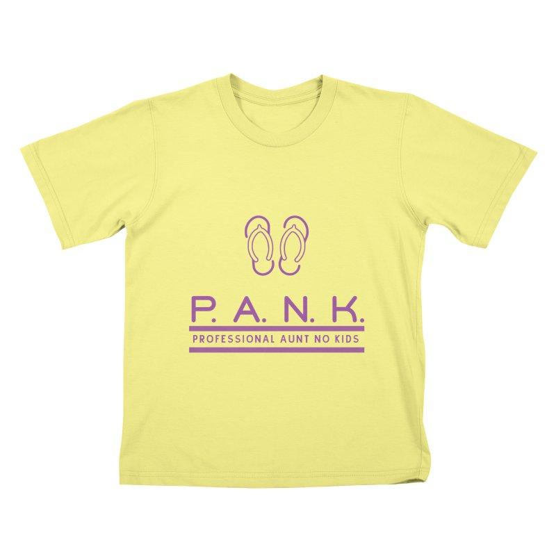 PANK Professional Aunt No Kids Purple Flip Flop Graphic T-Shirt Kids T-shirt by Awkward Design Co. Artist Shop