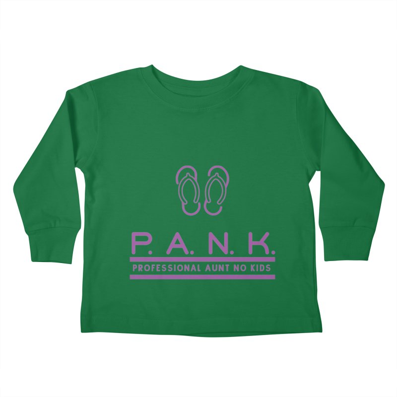 PANK Professional Aunt No Kids Purple Flip Flop Graphic T-Shirt Kids Toddler Longsleeve T-Shirt by Awkward Design Co. Artist Shop