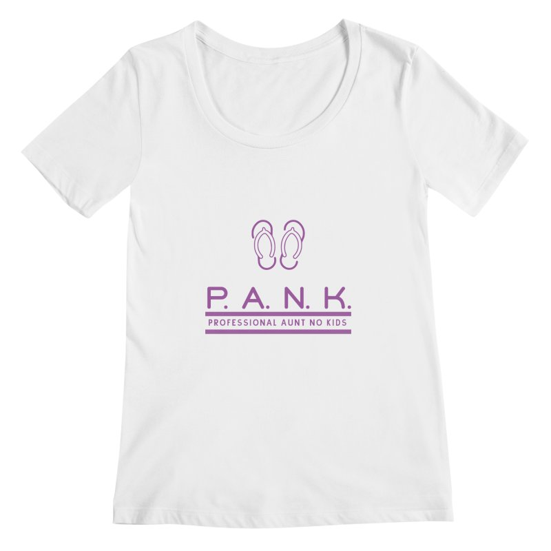 PANK Professional Aunt No Kids Purple Flip Flop Graphic T-Shirt Women's Scoopneck by Awkward Design Co. Artist Shop