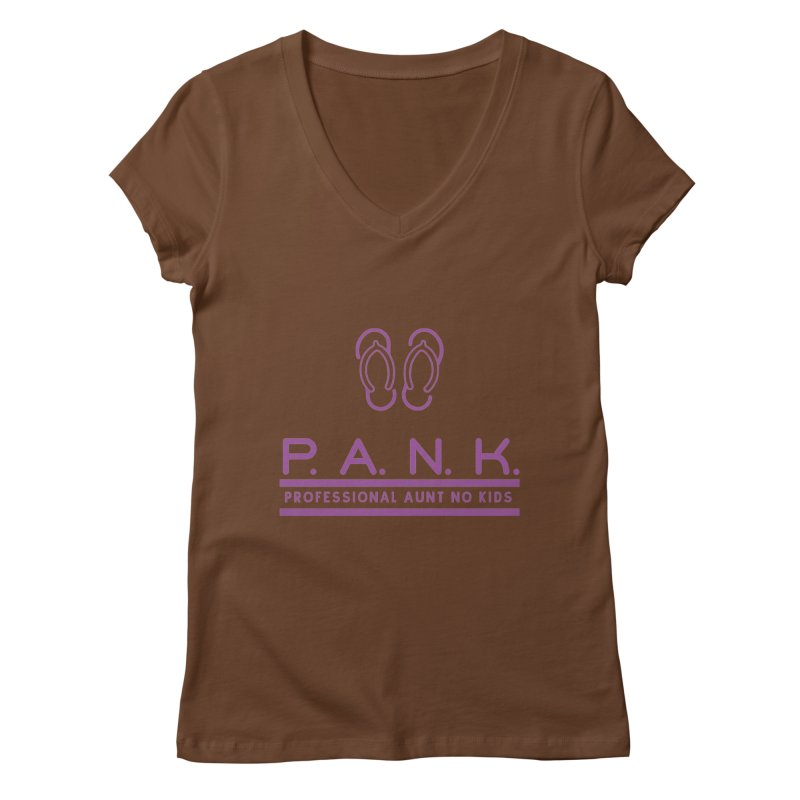 PANK Professional Aunt No Kids Purple Flip Flop Graphic T-Shirt Women's V-Neck by Awkward Design Co. Artist Shop