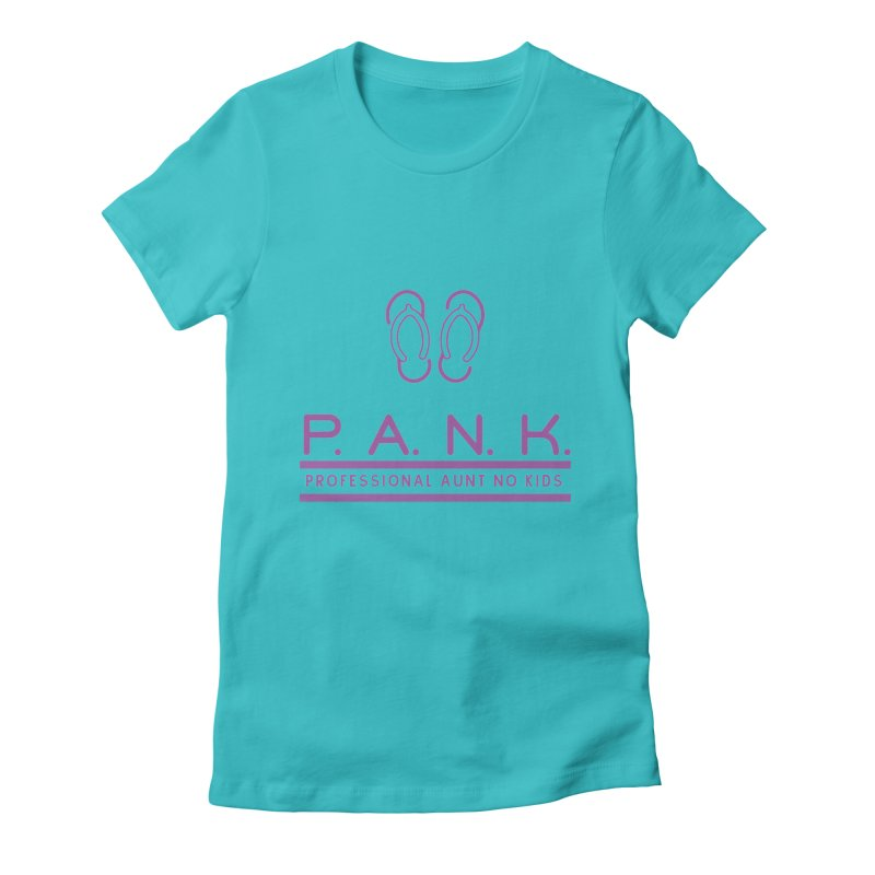 PANK Professional Aunt No Kids Purple Flip Flop Graphic T-Shirt Women's Fitted T-Shirt by Awkward Design Co. Artist Shop
