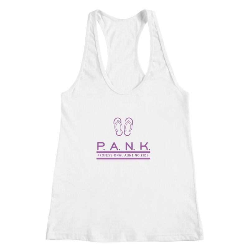 PANK Professional Aunt No Kids Purple Flip Flop Graphic T-Shirt Women's Racerback Tank by Awkward Design Co. Artist Shop