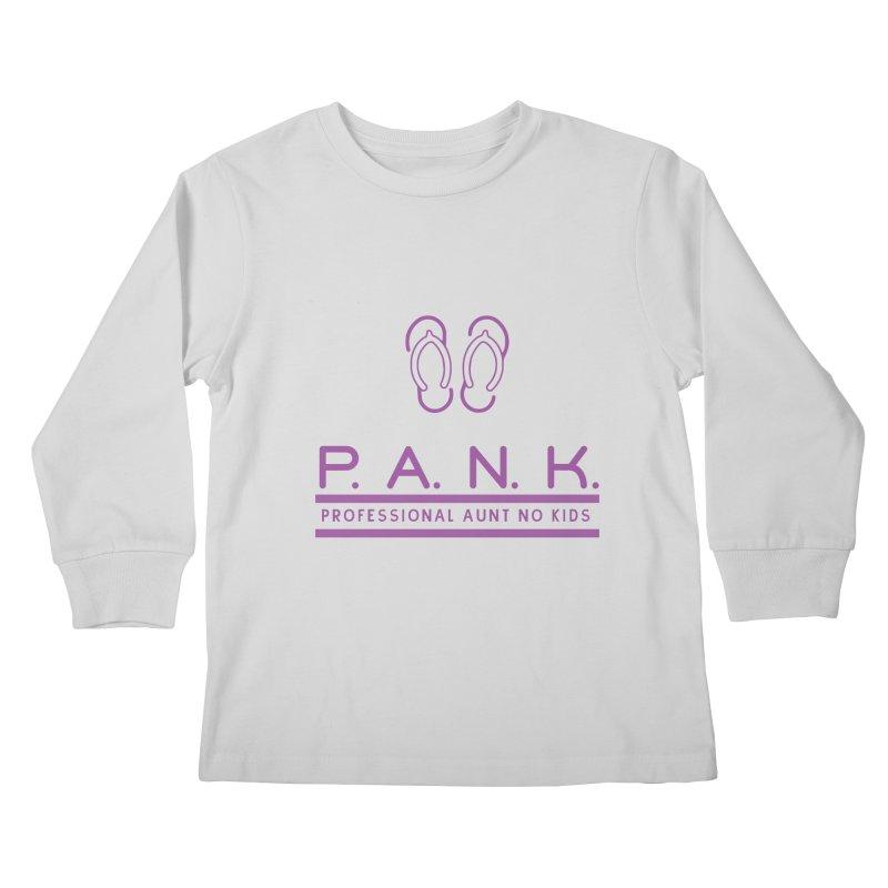PANK Professional Aunt No Kids Purple Flip Flop Graphic T-Shirt Kids Longsleeve T-Shirt by Awkward Design Co. Artist Shop