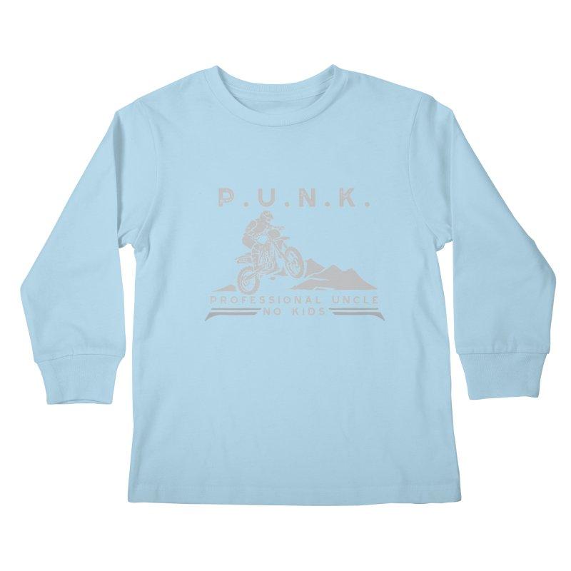 Punk Professional Uncle No Kids Dirtbike Graphic Tee Kids Longsleeve T-Shirt by Awkward Design Co. Artist Shop