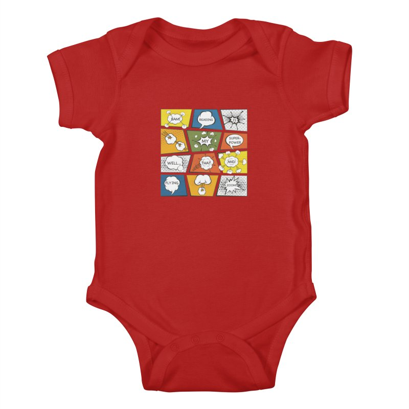 Reading Is My Superpower, Well, That and Flying Graphic Novel Design Kids Baby Bodysuit by Awkward Design Co. Artist Shop