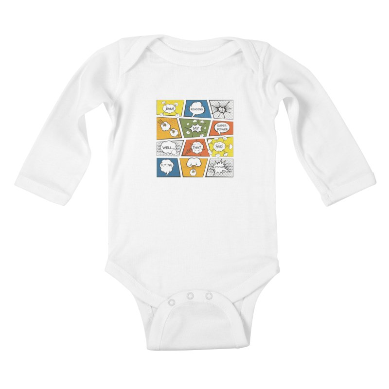 Reading Is My Superpower, Well, That and Flying Graphic Novel Design Kids Baby Longsleeve Bodysuit by Awkward Design Co. Artist Shop