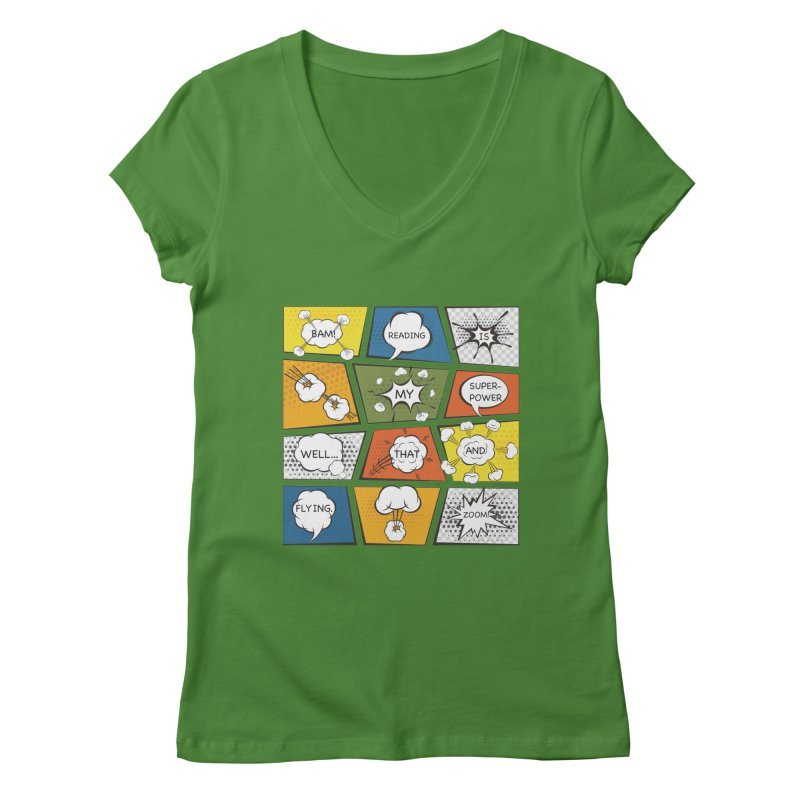 Reading Is My Superpower, Well, That and Flying Graphic Novel Design Women's V-Neck by Awkward Design Co. Artist Shop