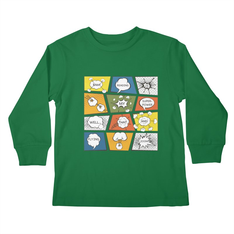 Reading Is My Superpower, Well, That and Flying Graphic Novel Design Kids Longsleeve T-Shirt by Awkward Design Co. Artist Shop