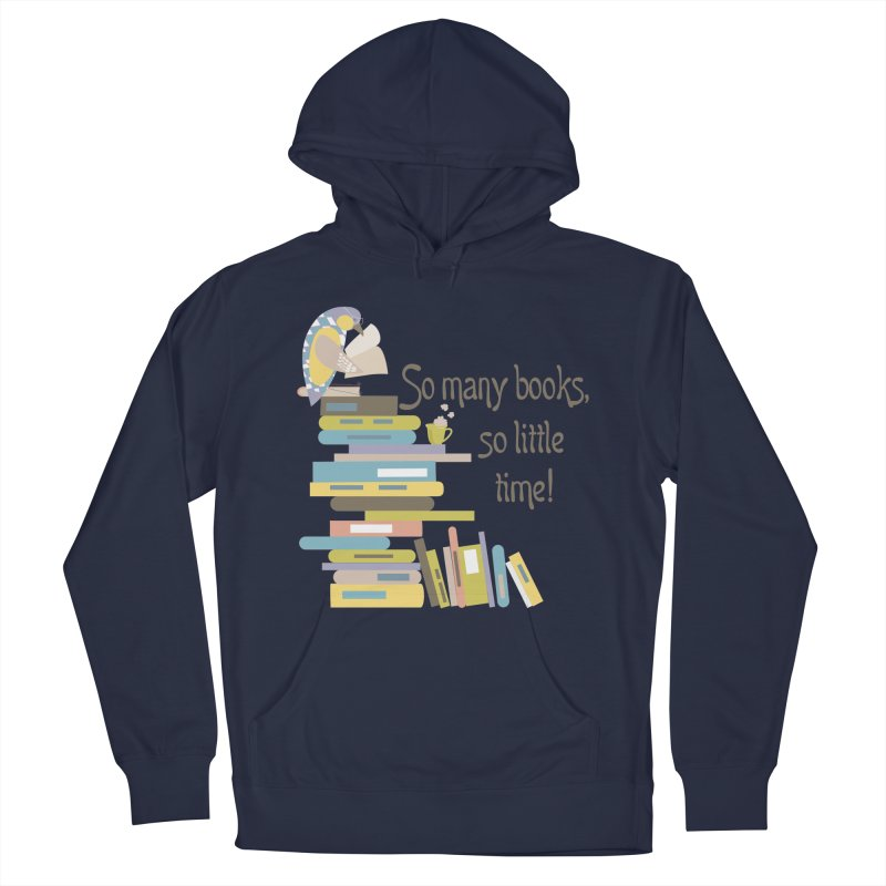 So Many Books So Little Time Bibliophile Bird Reading  Women's Pullover Hoody by Awkward Design Co. Artist Shop