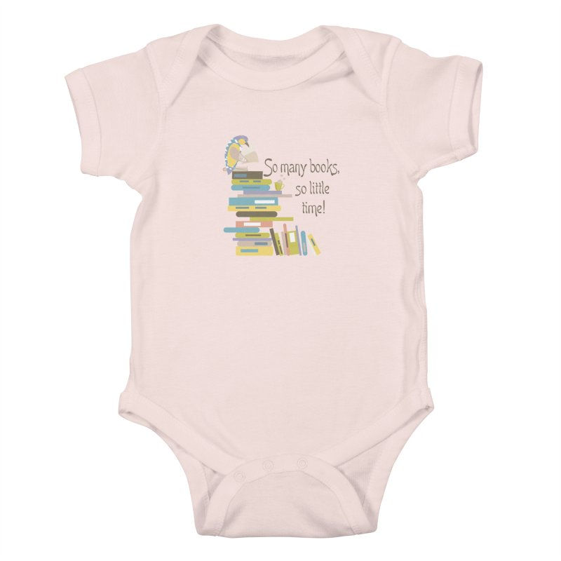 So Many Books So Little Time Bibliophile Bird Reading  Kids Baby Bodysuit by Awkward Design Co. Artist Shop
