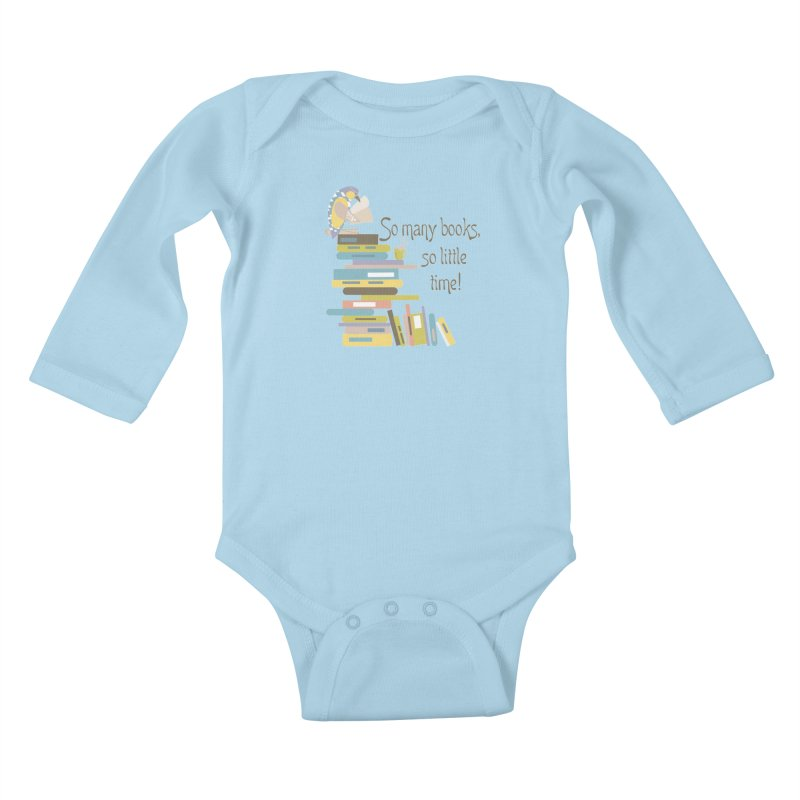 So Many Books So Little Time Bibliophile Bird Reading  Kids Baby Longsleeve Bodysuit by Awkward Design Co. Artist Shop