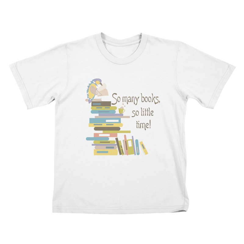 So Many Books So Little Time Bibliophile Bird Reading  Kids T-Shirt by Awkward Design Co. Artist Shop