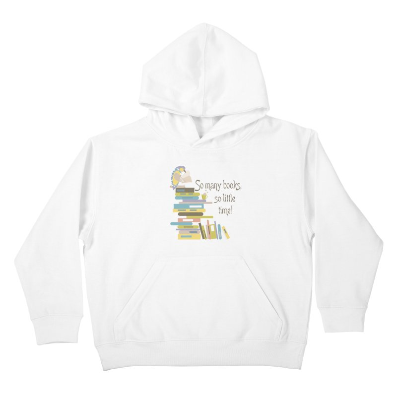 So Many Books So Little Time Bibliophile Bird Reading  Kids Pullover Hoody by Awkward Design Co. Artist Shop