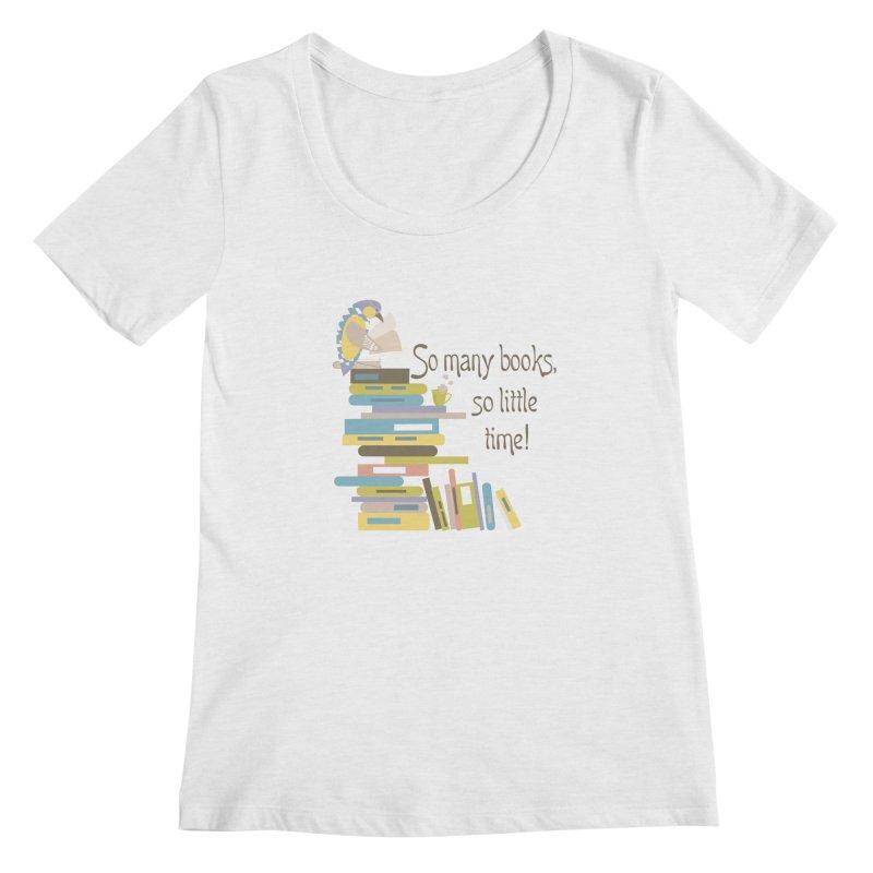 So Many Books So Little Time Bibliophile Bird Reading  Women's Scoopneck by Awkward Design Co. Artist Shop