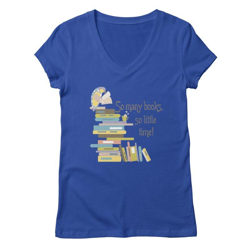So Many Books So Little Time Bibliophile Bird Reading  Women's V-Neck by Awkward Design Co. Artist Shop