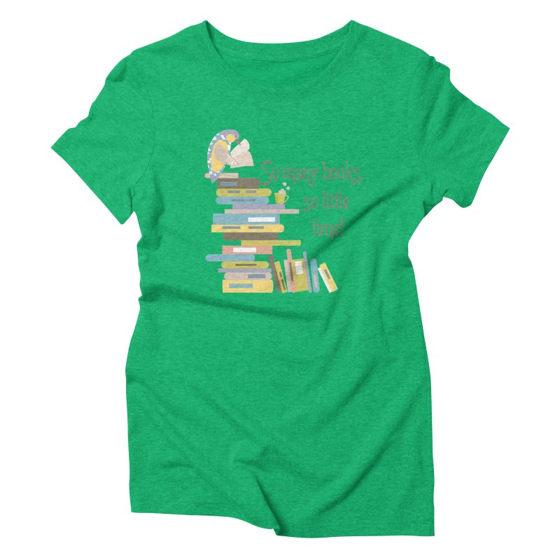 So Many Books So Little Time Bibliophile Bird Reading  Women's Triblend T-shirt by Awkward Design Co. Artist Shop