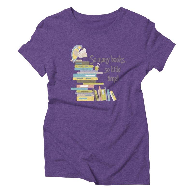 So Many Books So Little Time Bibliophile Bird Reading  Women's Triblend T-Shirt by Awkward Design Co. Artist Shop