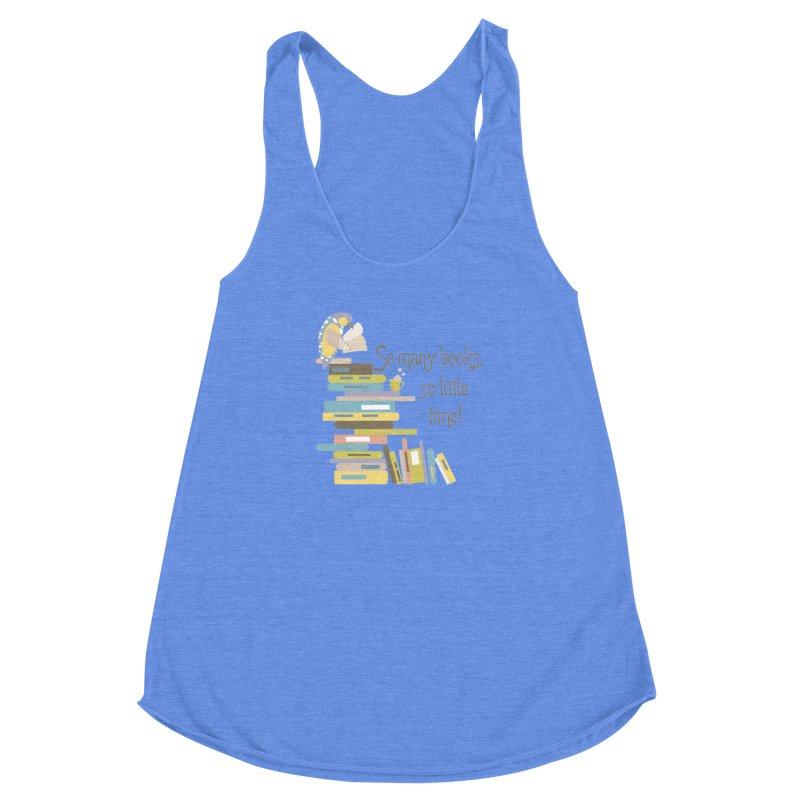 So Many Books So Little Time Bibliophile Bird Reading  Women's Racerback Triblend Tank by Awkward Design Co. Artist Shop
