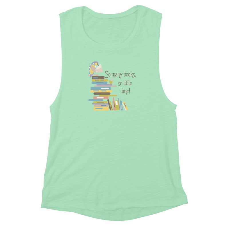 So Many Books So Little Time Bibliophile Bird Reading  Women's Muscle Tank by Awkward Design Co. Artist Shop