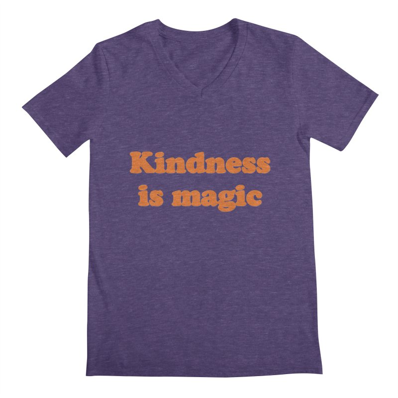 Kindness Is Magic in Men's V-Neck Heather Purple by Awkward Design Co. Artist Shop