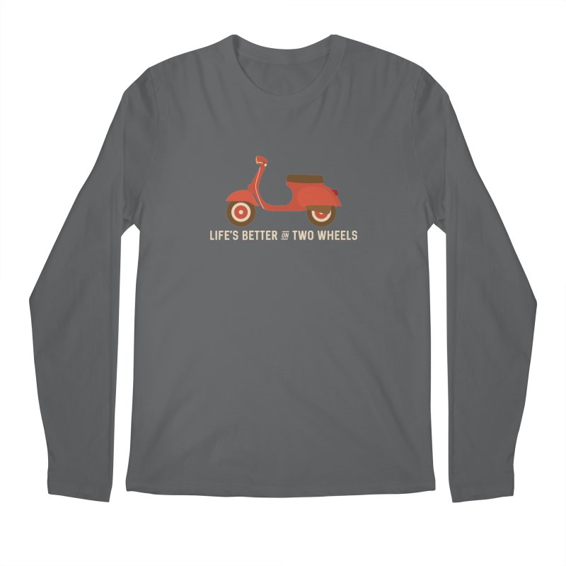 Life's Better on Two Wheels for Scooter Owners in Men's Longsleeve T-Shirt Heavy Metal by Awkward Design Co. Artist Shop