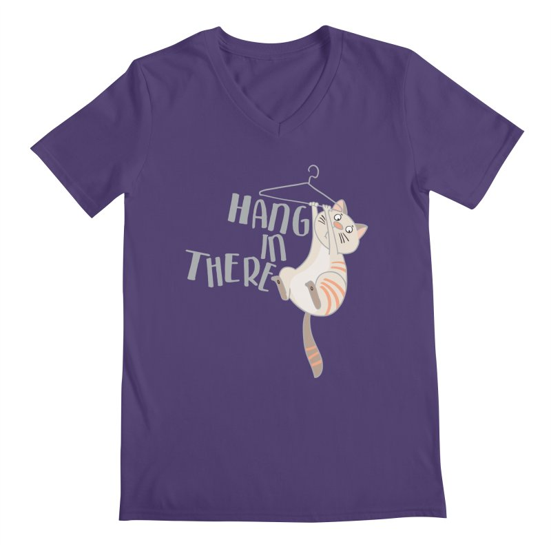 Hang In There Men's V-Neck by Awkward Design Co. Artist Shop