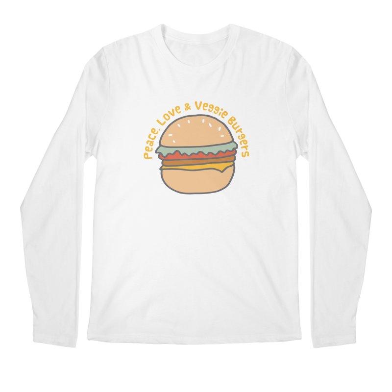 Peace, Love & Veggie Burgers Men's Longsleeve T-Shirt by Awkward Design Co. Artist Shop