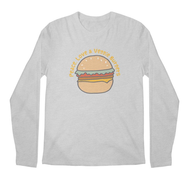 Peace, Love & Veggie Burgers Men's Longsleeve T-Shirt by Awkward Design Co. Artist Shop