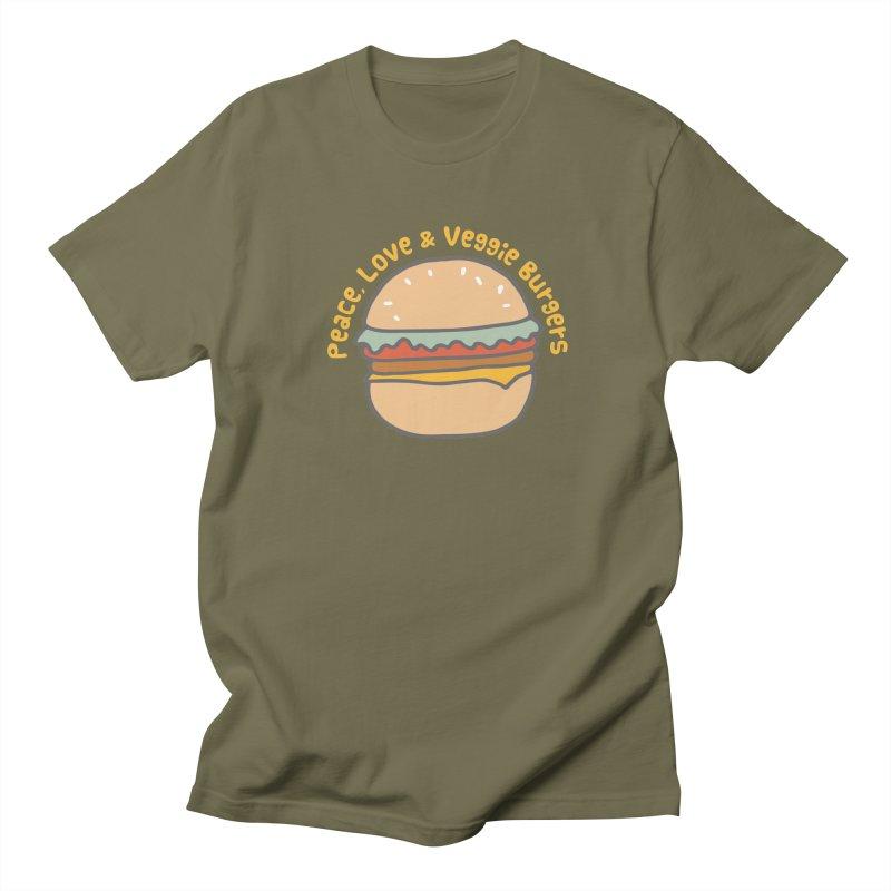 Peace, Love & Veggie Burgers Men's T-shirt by Awkward Design Co. Artist Shop