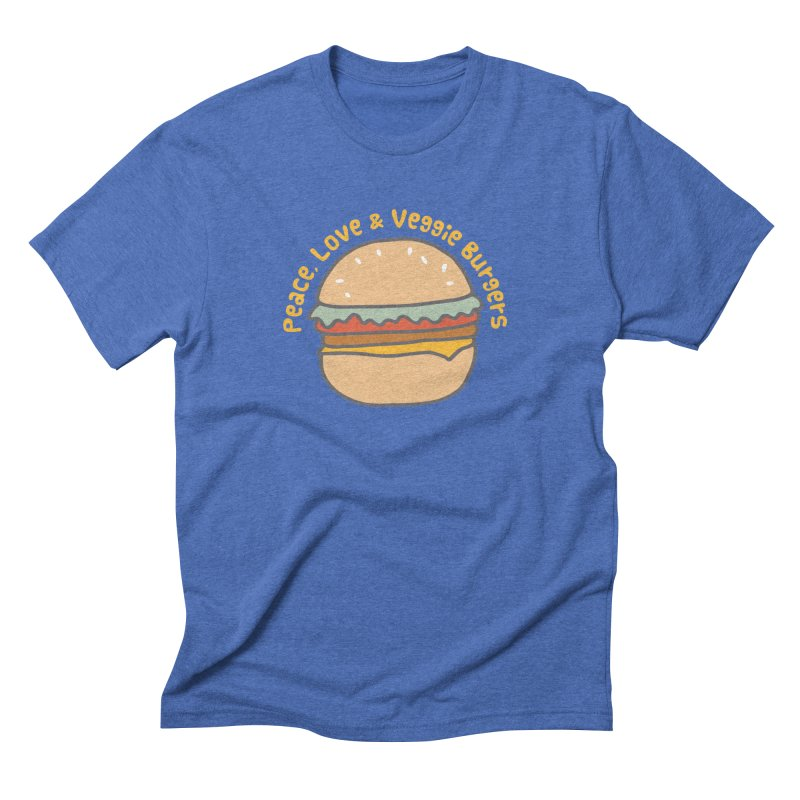 Peace, Love & Veggie Burgers Men's Triblend T-shirt by Awkward Design Co. Artist Shop