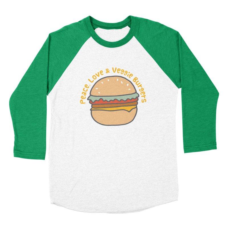 Peace, Love & Veggie Burgers Men's Baseball Triblend T-Shirt by Awkward Design Co. Artist Shop