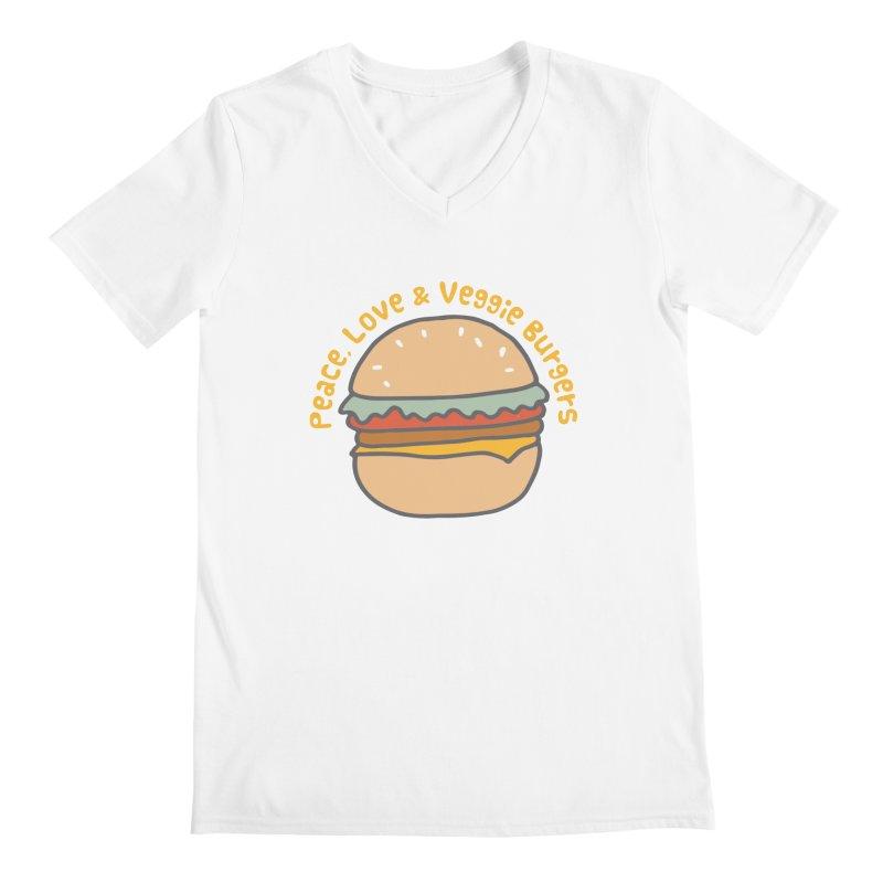 Peace, Love & Veggie Burgers Men's V-Neck by Awkward Design Co. Artist Shop