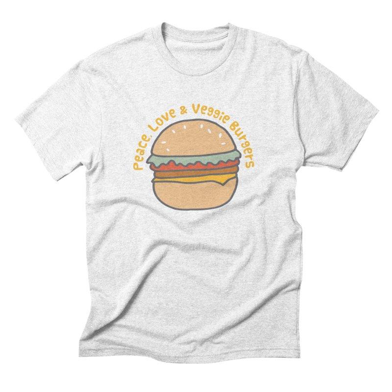 Peace, Love & Veggie Burgers Men's Triblend T-shirt by Awkward Design Co. Artist Shop