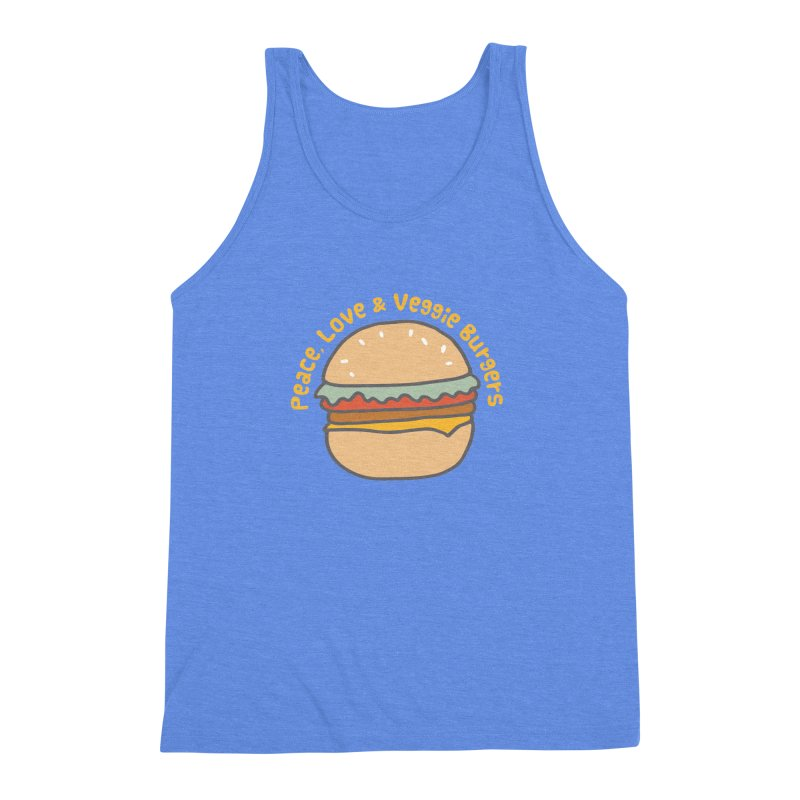Peace, Love & Veggie Burgers Men's Triblend Tank by Awkward Design Co. Artist Shop