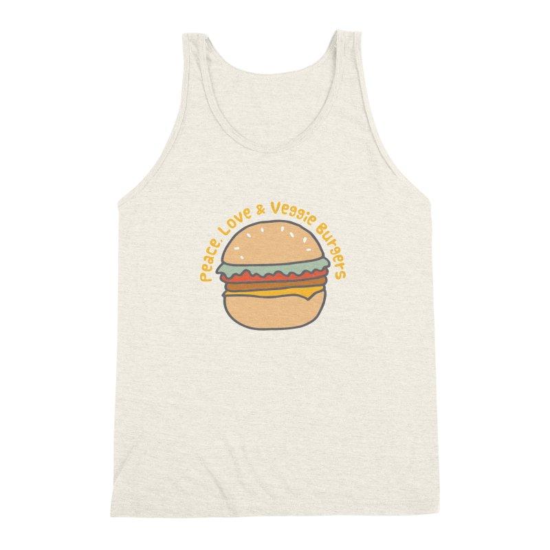 Peace, Love & Veggie Burgers Men's Triblend Tank by Awkward Design Co. Artist Shop