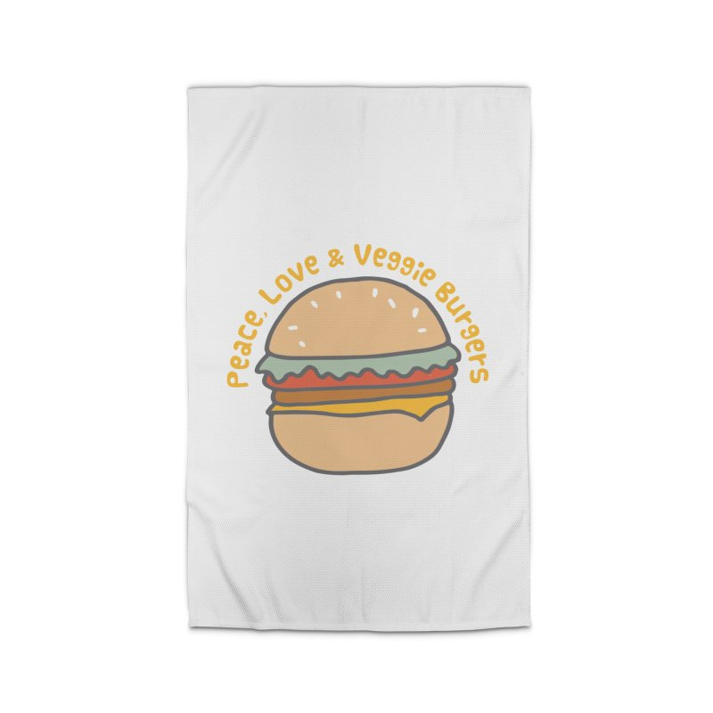 Peace, Love & Veggie Burgers Home Rug by Awkward Design Co. Artist Shop