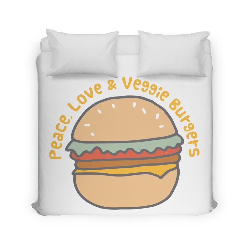 Peace, Love & Veggie Burgers Home Duvet by Awkward Design Co. Artist Shop