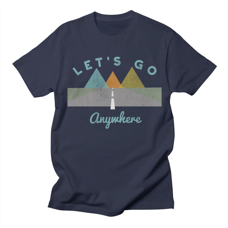 Let's Go Anywhere Mountains Road Trip in Men's T-shirt Navy by Awkward Design Co. Artist Shop