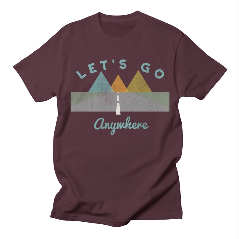 Let's Go Anywhere Mountains Road Trip Men's T-shirt by Awkward Design Co. Artist Shop