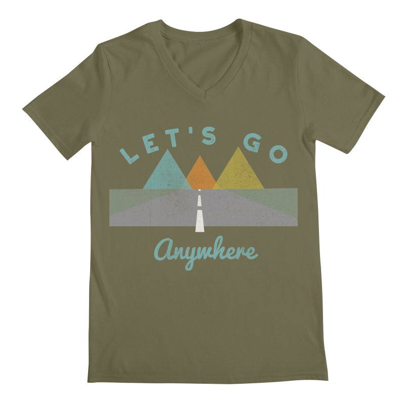 Let's Go Anywhere Mountains Road Trip Men's V-Neck by Awkward Design Co. Artist Shop