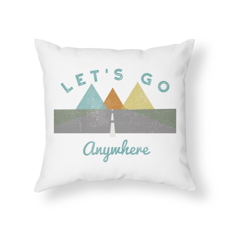 Let's Go Anywhere Mountains Road Trip Home Throw Pillow by Awkward Design Co. Artist Shop