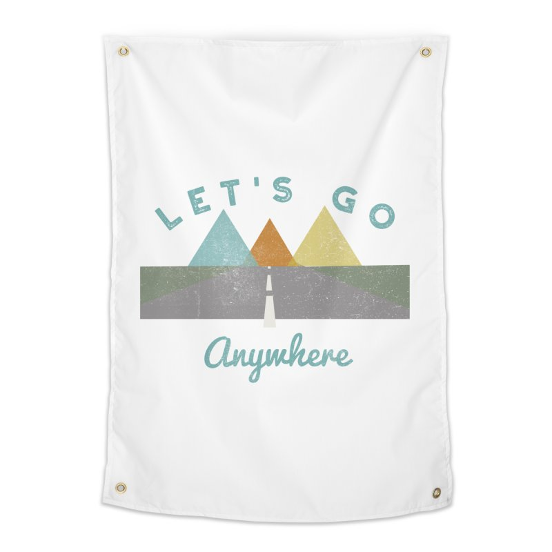 Let's Go Anywhere Mountains Road Trip Home Tapestry by Awkward Design Co. Artist Shop